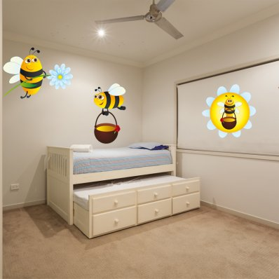Kit Vinilo decorativo infantil 3 abejas