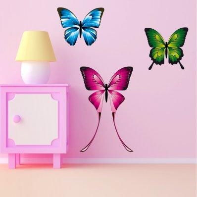 Kit Vinilo decorativo infantil 3 mariposas