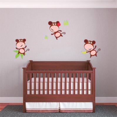 Kit Vinilo decorativo infantil 3 monos