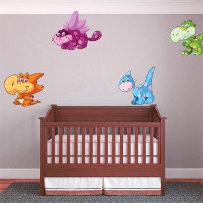 Kit Vinilo decorativo infantil 4 dinosaurios