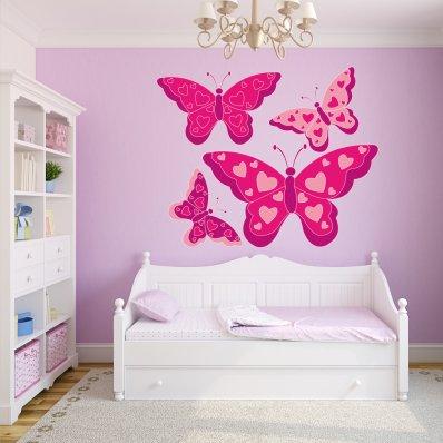 Kit Vinilo decorativo infantil 4 mariposas