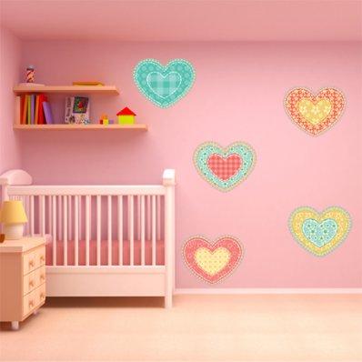 Kit Vinilo decorativo infantil 5 corazónes