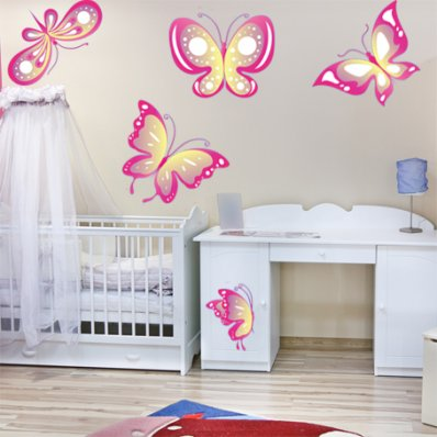 Kit Vinilo decorativo infantil 5 mariposas