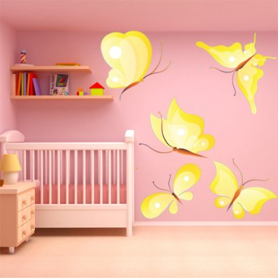 Kit Vinilo decorativo infantil 5 mariposas