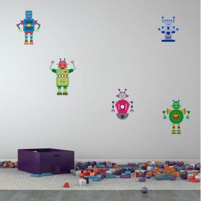 Kit Vinilo decorativo infantil 5 robots