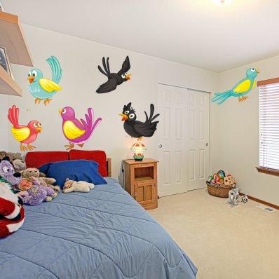 Kit Vinilo decorativo infantil 6 aves