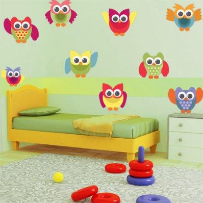 Kit Vinilo decorativo infantil 9 búhos