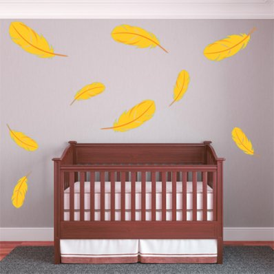 Kit Vinilo decorativo infantil 9 plumas