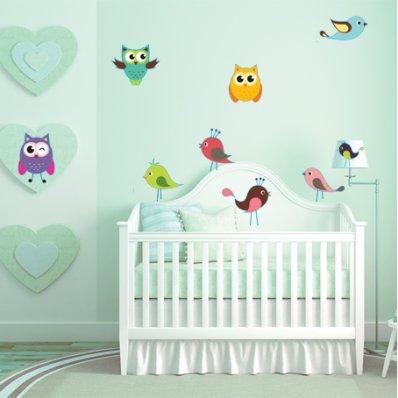 Kit Vinilo decorativo infantil aves búhos