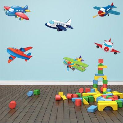 Kit Vinilo decorativo infantil aviones