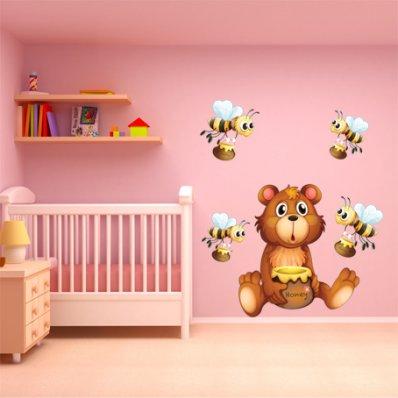 Komplet 5 naklejek Dla Dzieci - Pszczoły i Niedźwiadki