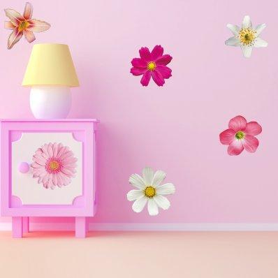 Komplet 6 naklejek ściennych - Kwiatki
