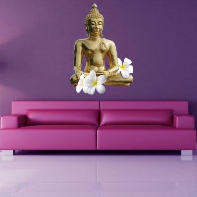 Naklejka ścienna - Budda Kwiaty