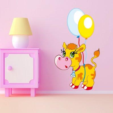 Naklejka ścienna Dla Dzieci - Krowa z balonami