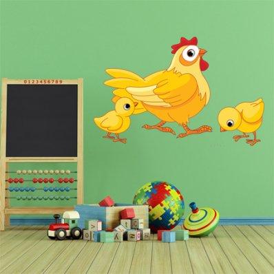 Naklejka ścienna Dla Dzieci - Kura i Kurczaczki