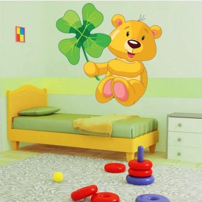 Naklejka ścienna Dla Dzieci - Niedźwiadek i 4listna Koniczyna