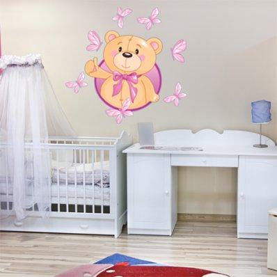 Naklejka ścienna Dla Dzieci - Niedźwiadek i Motylki
