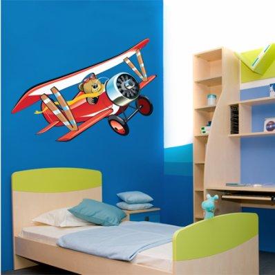 Naklejka ścienna Dla Dzieci - Niedźwiadek w Samolocie