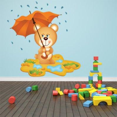Naklejka ścienna Dla Dzieci - Niedźwiadek z Parasolką