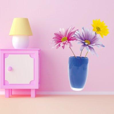 Naklejka ścienna - Doniczka z Kwiatami