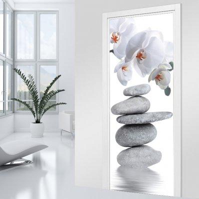 Naklejka na Drzwi - Kamyki i Orchidee
