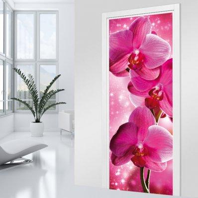 Naklejka na Drzwi - Różowa Orchidea