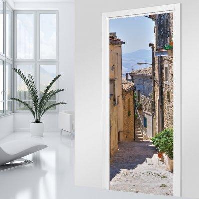 Naklejka na Drzwi - Śródziemnomorska Uliczka