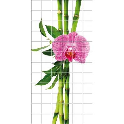 Naklejka na Płytki Ceramiczne - Kwiaty i Bambus