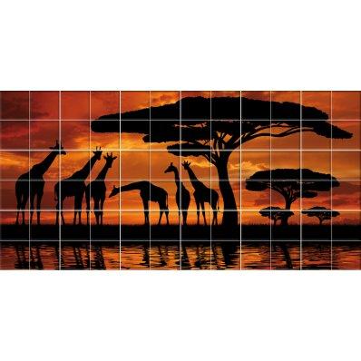 Naklejka na Płytki Ceramiczne - Żyrafa
