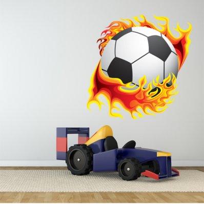 Autocollant Stickers ado ballon de foot en flamme