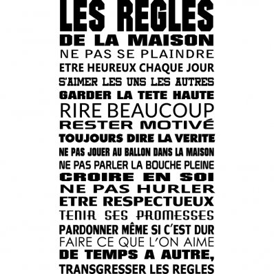 Stickers citation pas cher stickers folies for Cadre les regles de la maison