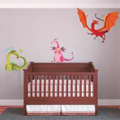 Autocollant Stickers enfant kit 3 dragons