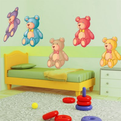 Autocollant Stickers enfant kit 5 oursons