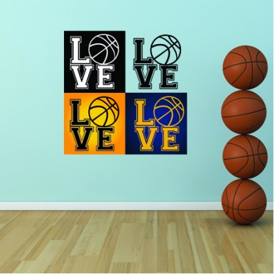 Autocollant Stickers enfant love basketball