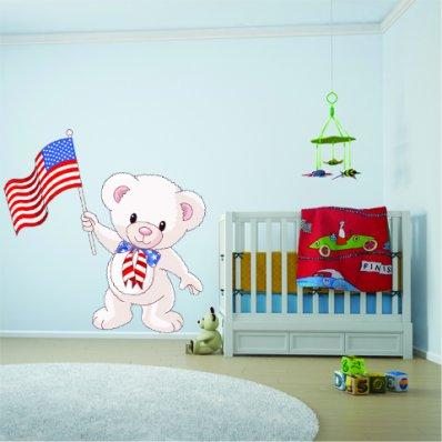 Autocollant Stickers enfant ourson drapeau USA