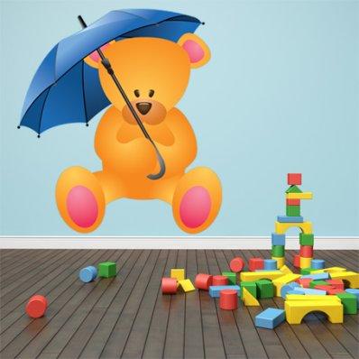 Autocollant Stickers enfant ourson parapluie