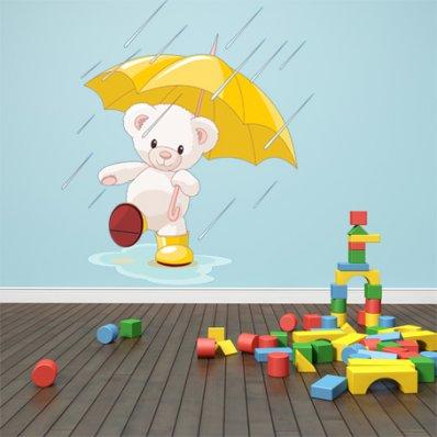 Autocollant Stickers enfant ourson sous la pluie