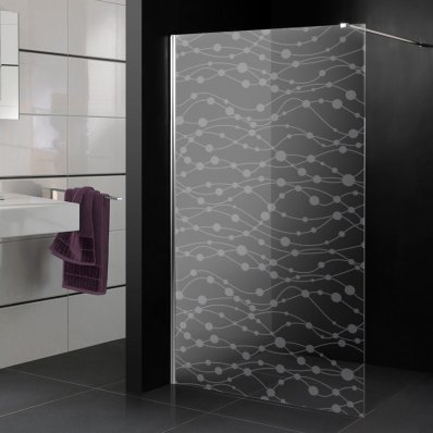 Stickers paroi de douche dépoli ronds design 2