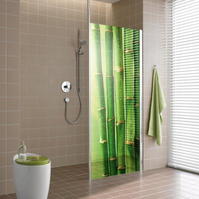 Stickers paroi de douche semi translucide bambous 4 pas cher - Paroi de douche italienne pas cher ...
