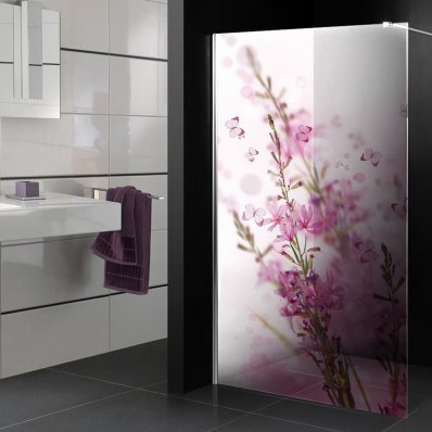 stickers paroi de douche semi translucide fleurs papillons pas cher. Black Bedroom Furniture Sets. Home Design Ideas