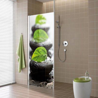 stickers paroi de douche semi translucide galets pas cher. Black Bedroom Furniture Sets. Home Design Ideas