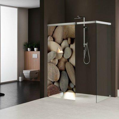 stickers paroi de douche semi translucide galets 2 pas cher. Black Bedroom Furniture Sets. Home Design Ideas
