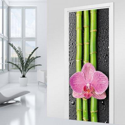 Stickers porte Bambou orchidée 2