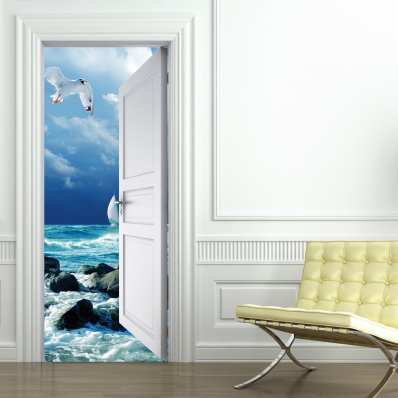 stickers porte trompe l 39 oeil stickers pour porte. Black Bedroom Furniture Sets. Home Design Ideas