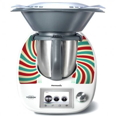 Stickers Thermomix TM5 Rayé turquoise et rouge
