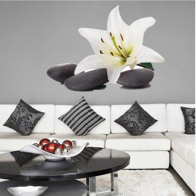 Wandtattoo Kiesel und Orchideen