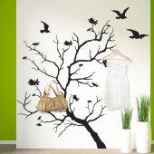 Adesivo Murale Appendiabiti albero uccelli