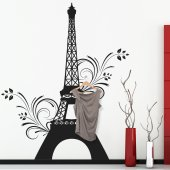 Adesivo Murale Appendiabiti Torre Eiffel