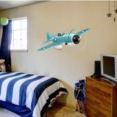 Adesivo Murale bambino aereo blu