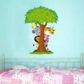 Adesivo Murale bambino albero animali